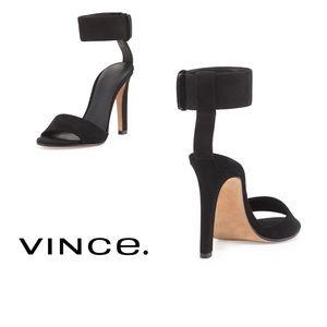 VINCE Gita Black Suede Ankle Strap Sandal Heel 7.5